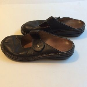 Finn Comfort German Black Leather Mules US Size 9